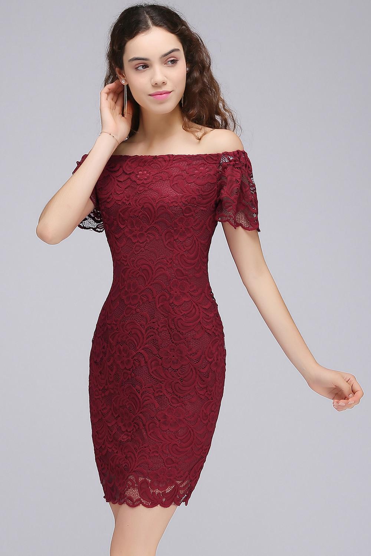 Burgundy Off the Shoulder Short Prom Dresses