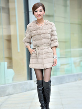 Real natural genuine full pelt rabbit fur coat fashion whole skin fur  jacket waistcoats with belt Customized big size