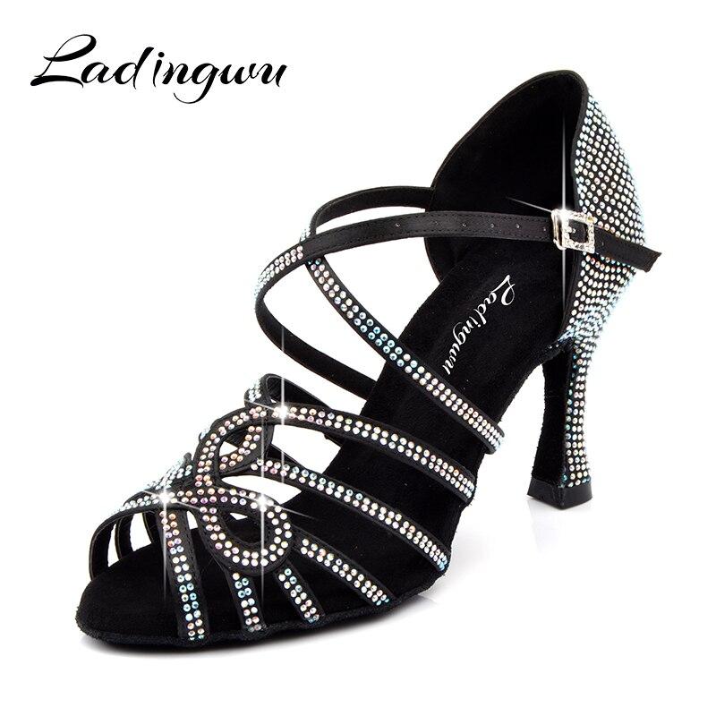 Ladingwu Brands Ballroom Dance Shoes Glitter Small Austrian Drill Latin Dance Shoes for Women Silk Satin