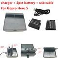 2017 nova gopro hero 5 bateria 2 pcs 1220 mah bateria gopro 5 + Dual USB Carregador de Bateria Para Acessórios Da Câmera GoPro Hero5 Preto