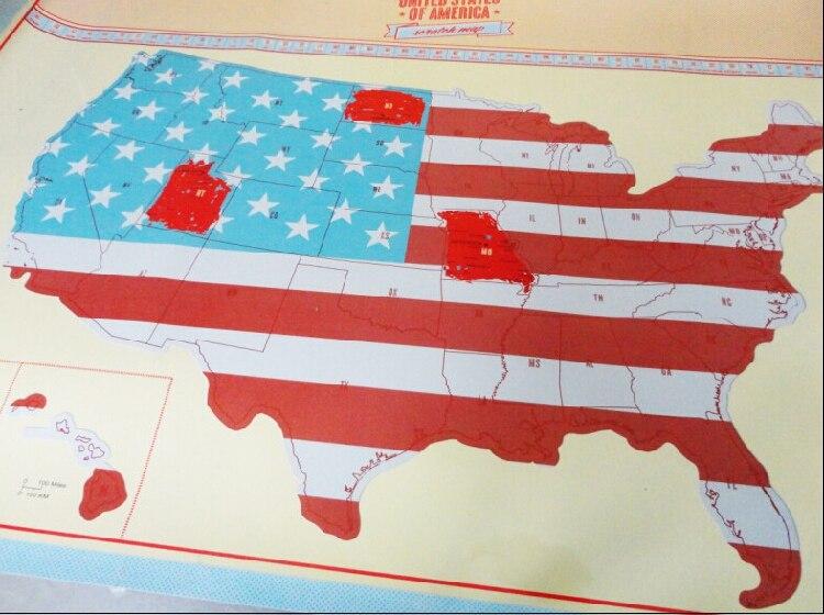 Nueva llegada EE. UU. Mapa de rasca del mapa del país americano embalado en el tubo de la tarjeta rasguño fuera del mapa viaje vacaciones viajero Log regalo