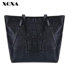 XQXA Black Casual Women Shoulder Bags PU Female Big Tote Bags for Ladies Handbag Large Capacity sac a main femme de marque