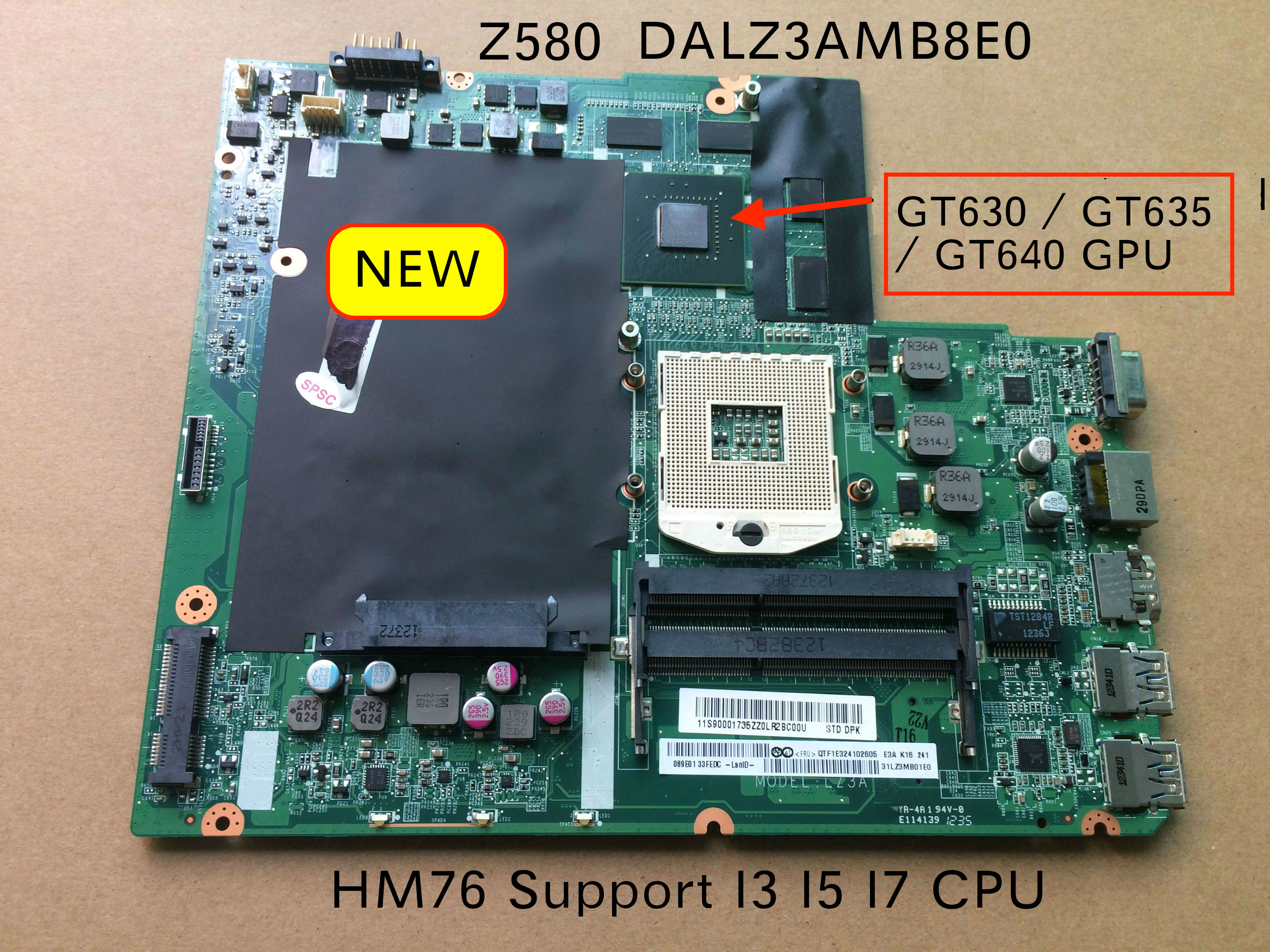 Original NEW Laptop Motherboard For Lenovo Ideapad Z580 DALZ3AMB8E0 GT630M GT635M video card