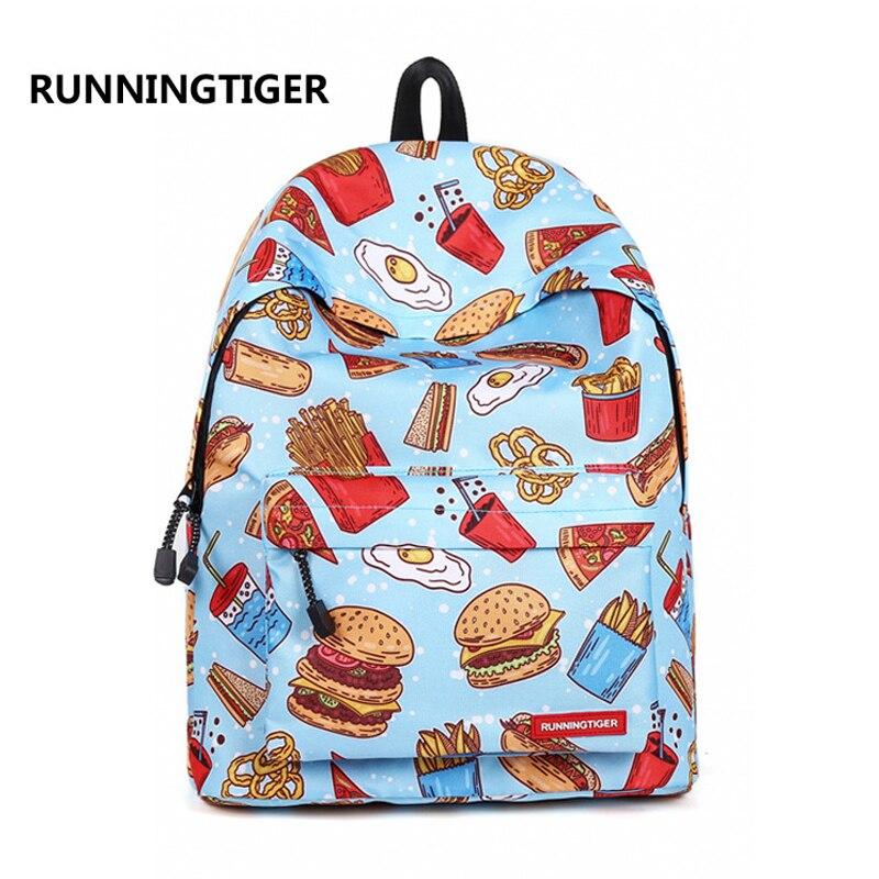RunningTiger 3D fast food printed Women Backpack Female Trendy Designer School Bags Teenagers Girls Men Travel Bag Mochilas