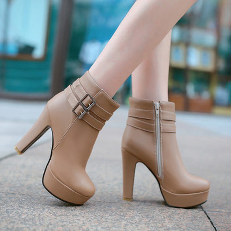 ФОТО Sexy Ankle Boots For Women High Heels Buckle Platform Winter Dress Shoes Ladies Short Boots boats feminina outono inverno