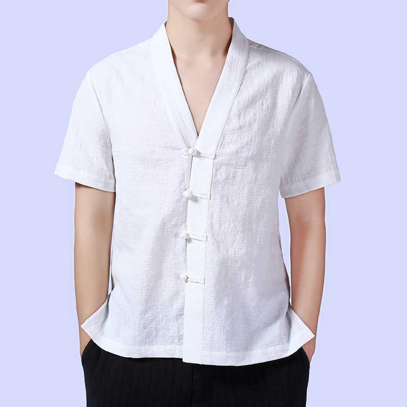 中国スタイルメンズシャツカジュアルコットンリネン半袖vネックシャツ男性無地緩いkongfuをシャツ