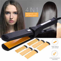 4 In 1 Interchangeable Fast Hair Straightener Corn Wave Wide Plate Hair Curler Roller Large To Small Waver Corrugated Flat Iron