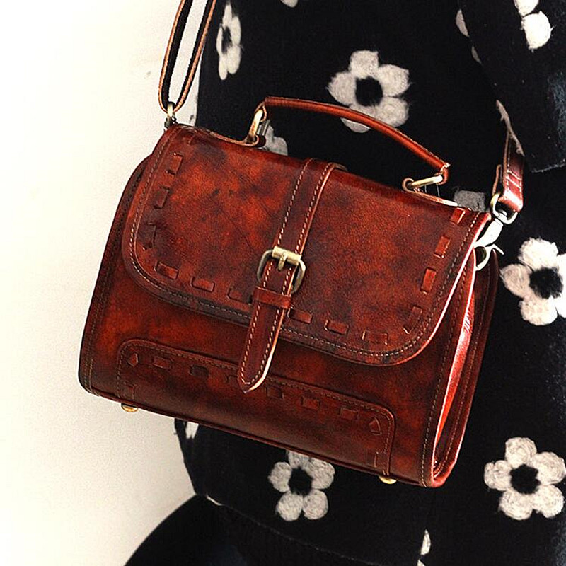 Unique Designer Genuine Leather Women's Top Handle Handbag Cross Bag Ladies Small Flap Shoulder Bag Female Vintage Bolso Purse hot sale popular women scrub leather design cross body bag girls shoulder bag female small flap handbag top handle bags