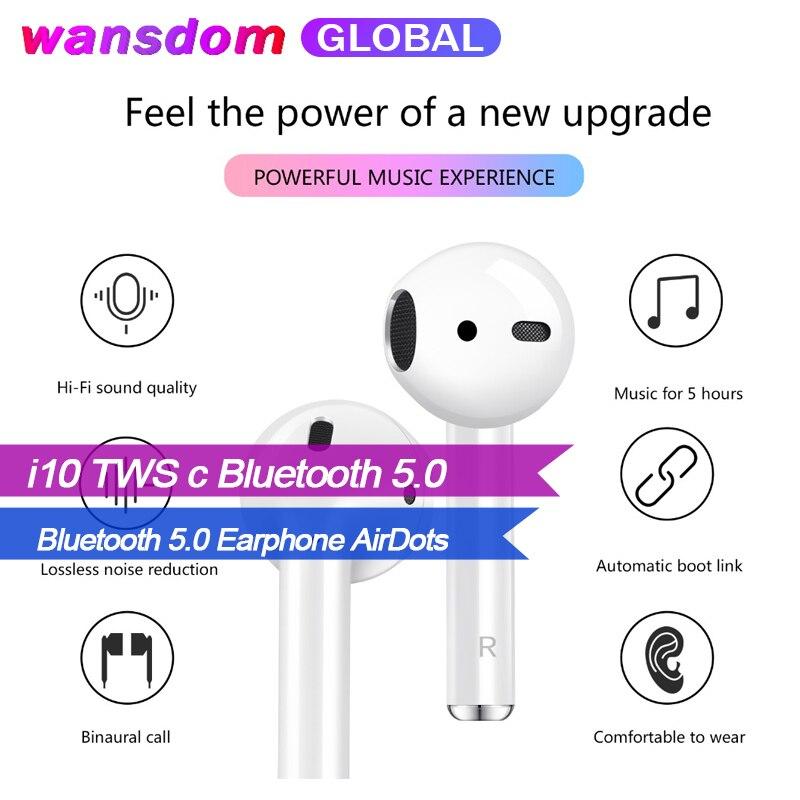 Wansdom Bluetooth 5.0 écouteur AirDots stéréo i10 TWS sans fil tactile écouteurs casque avec micro pour iPhone Samsung Xiaomi Huawei