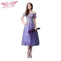 AnXin SH Paars bruid prom jurk nieuwjaar diner de groothandel kant bloem prom dress 299Q S