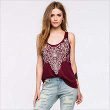 New European and American stylesweet women tank tops sexy hollow floral prined street top quality  for women