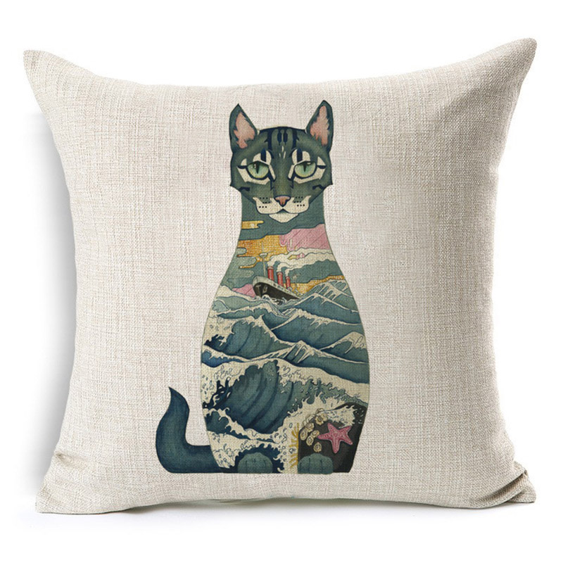 Cute Cat Animal Pattern Printed Cushion Cover Cotton Linen Decorative Pillowcase Use For Home Sofa Car Office Almofadas Cojines
