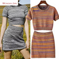 2017 New Arrival Women's Summer Clothes O-Neck Crop Top And Knitting Striped Skirts Set  Female Slim Sexy Casual Suits S-M