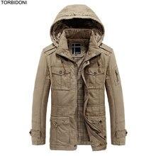 2017 New Warm Outwear Winter Warm Jacket Coat Jaqueta Masculino Mens Hooded Jacket Warm Parkas Multi Pockets Casual Overcoat