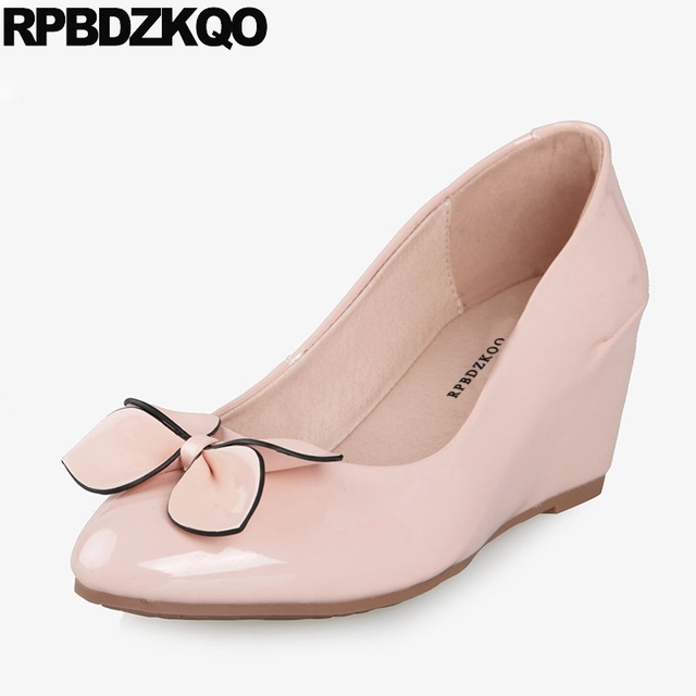 c90ffe90239a7 US $41.13 36% OFF|High Heels Designer Women Luxury 2018 Shoes Casual Pumps  Pointed Toe Bow Size 4 34 Medium Wedge Cheap Patent Leather Pink 33-in ...