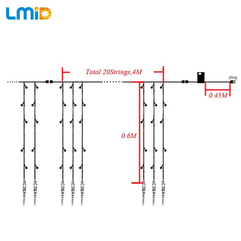 Tətil İşıqlandırma 4x0.6M Icicle Rəngli Nağıl Xmas LED - Bayram işıqlandırılması - Fotoqrafiya 4
