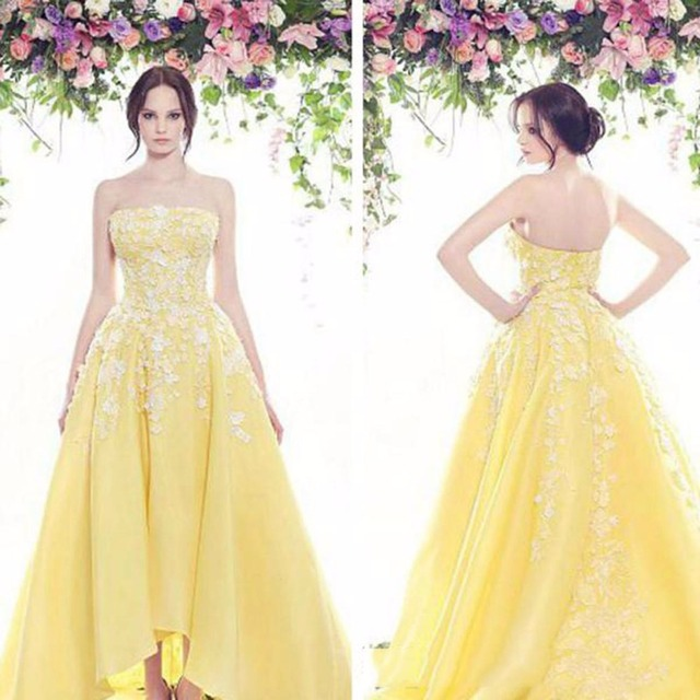 Yellow Wedding Dress 2017 Lace Applique Backless Dresses Strapless A Line Vestido De Noiva Romantic Bridal Gown