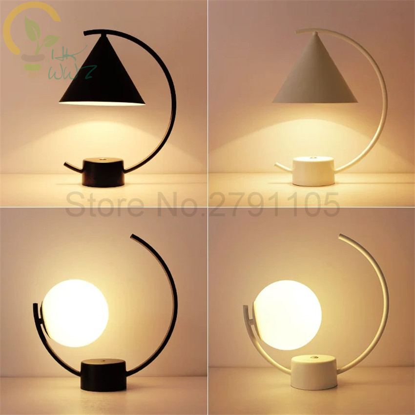 Lights & Lighting Responsible White/black 2 Style New Design Artistic Table Lamps,e27 Iron Personality Table Light Nordic Lamp Bedroom Bedside Desk Lamp