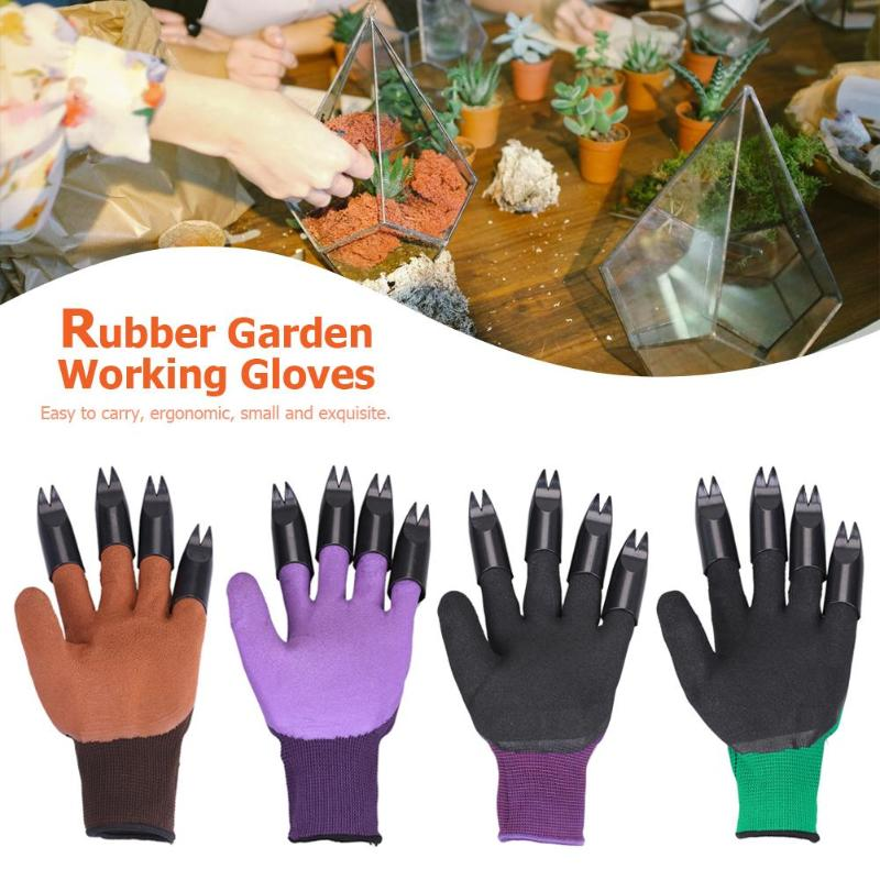 1Pair Garden Gloves 8 Hand Claw Fingertip Supplies Garden Plant Digging Protective Tool For Protect Your Fingers Loosen The Soil
