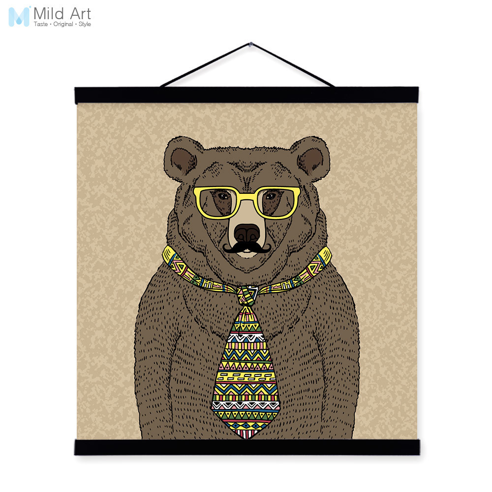 Black Bear Gentleman Animal Portrait <font><b>Hipster</b></font> Cartoon A4 Wooden Framed Canvas Painting Wall Art Prints Pictures Poster <font><b>Home</b></font> <font><b>Decor</b></font>