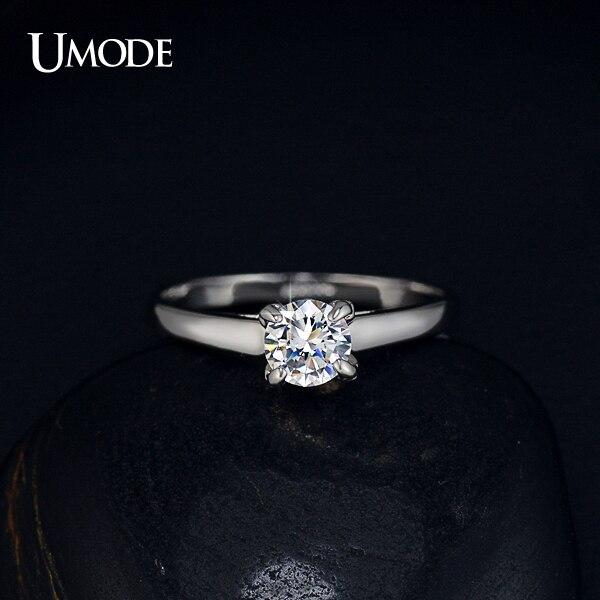 UMODE venta al por mayor anillo de boda para Mujer con circonita de 4 diente único Enchapado clásico JR0137