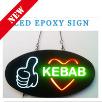 New EPOXY KEBAB LED SIGN Signature KEBAB Resin Waterproof LED Open Sign LED Epoxy Resin Sign