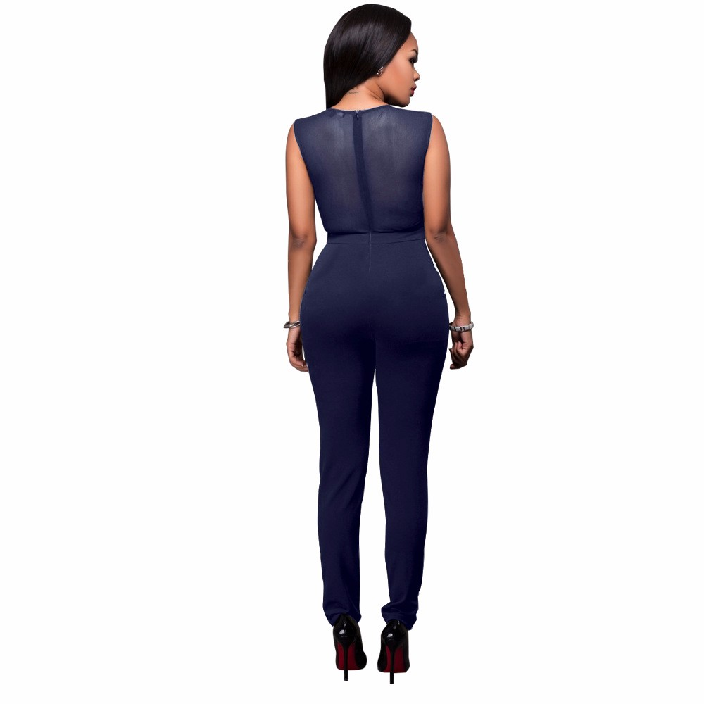 2017 New Summer Women Jumpsuit Bandage Black Bodysuit V-Neck Sleeveless Print Zipper Back Sexy Bodycon Jumpsuits And Rompers 7