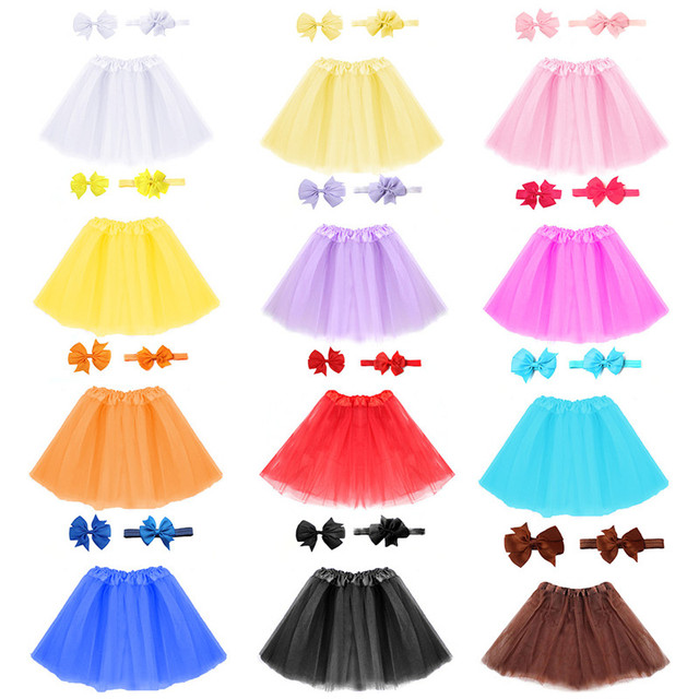 Bé Gái Vải Tuyn Tutu Váy và Headband Tóc Clip Bộ Nhiếp Ảnh Trẻ Sơ Sinh Đạo Cụ Sơ Sinh Bé Món Quà Sinh Nhật 13 Màu Sắc