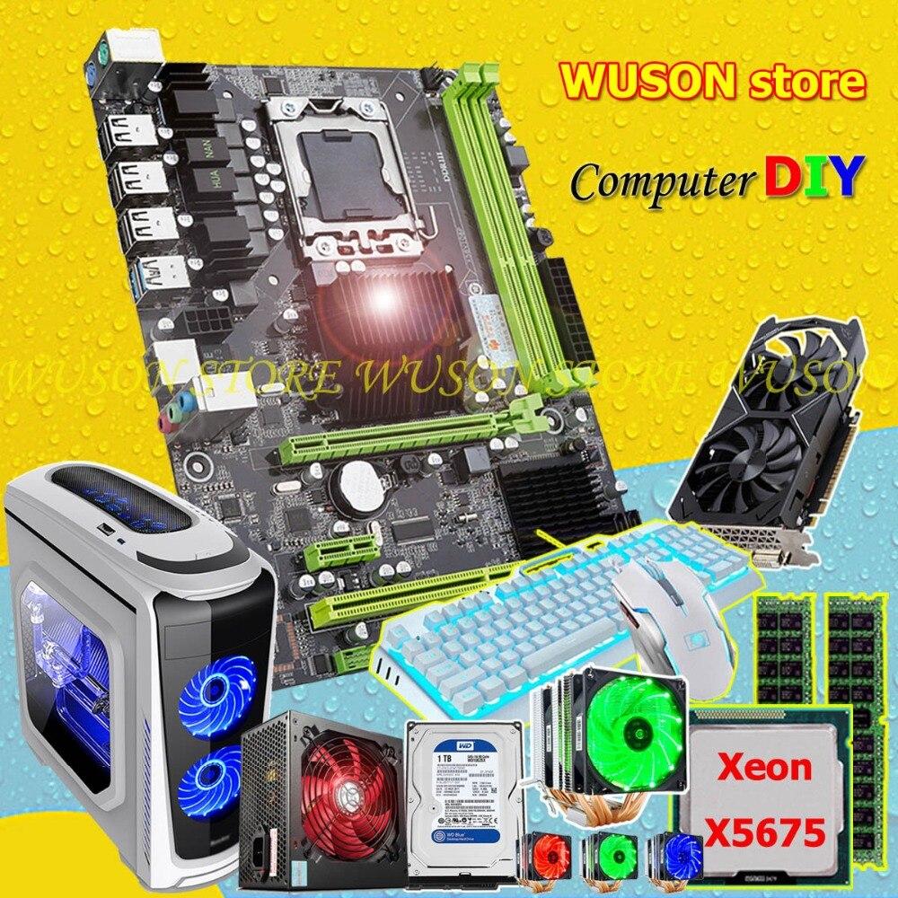 HUANAN ZHI X58 placa base bundle CPU Xeon X5675 con enfriador RAM 16G RECC 500 vatios PSU GPU GTX1050Ti video tarjeta 1 TB SATA3.0 HDD