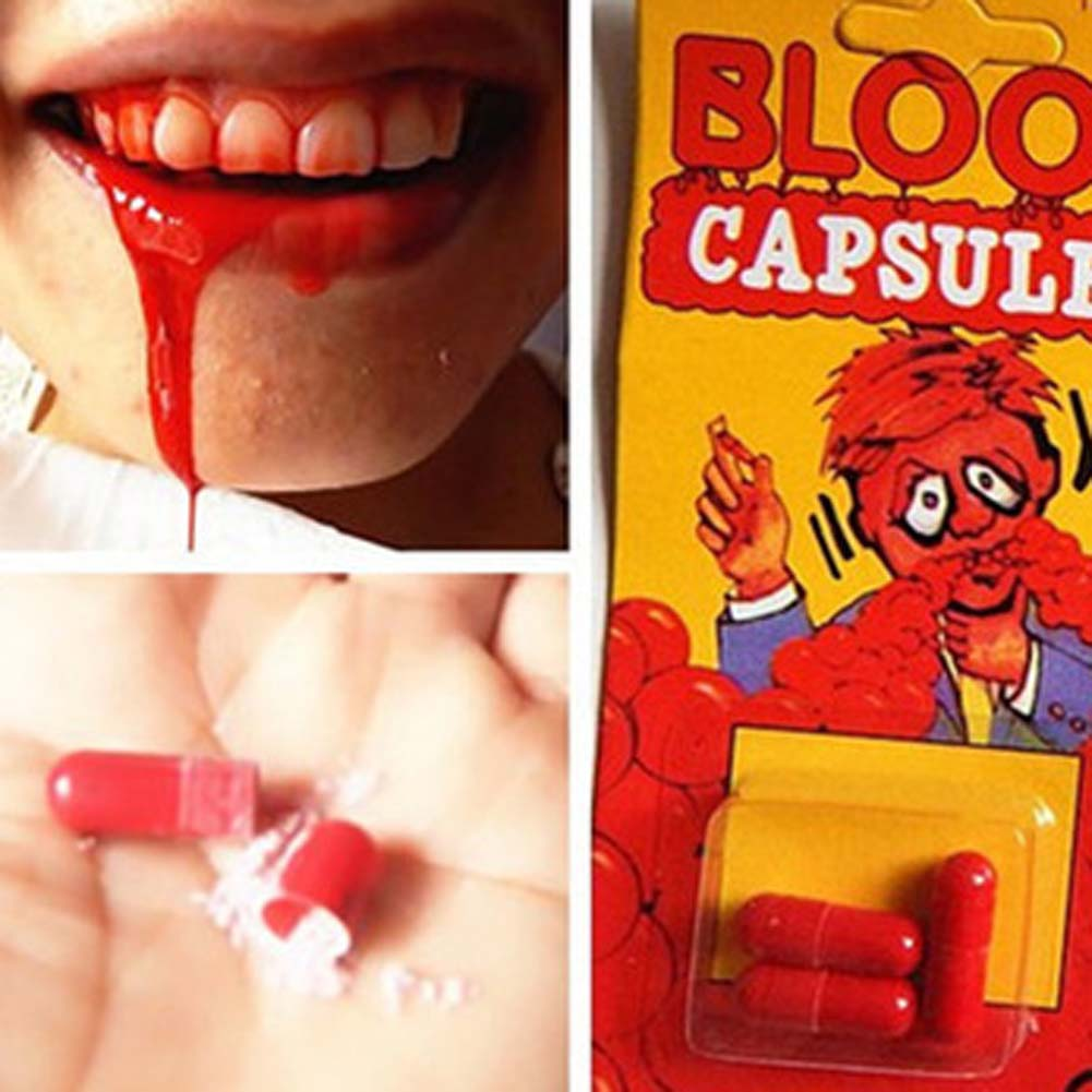 1 Piece Funny Blood Pill Trick Toys Whimsy Prop Vomiting Blood Capsule April Fool's Day Joke Toys