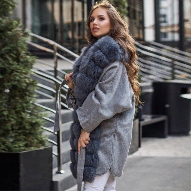 Real Fur Parka With Fox Fur Collar Winter Women's Park With Natural Fur Whole Skin Fashion Slim Casual Befree Long Coat Women