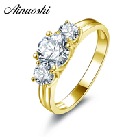 AINUOSHI 10k Solid Yellow Gold Ring Luxury Design Bague 3 Stones 1ct Round Cut Simulated Diamond Rings Real Gold Wedding Jewelry