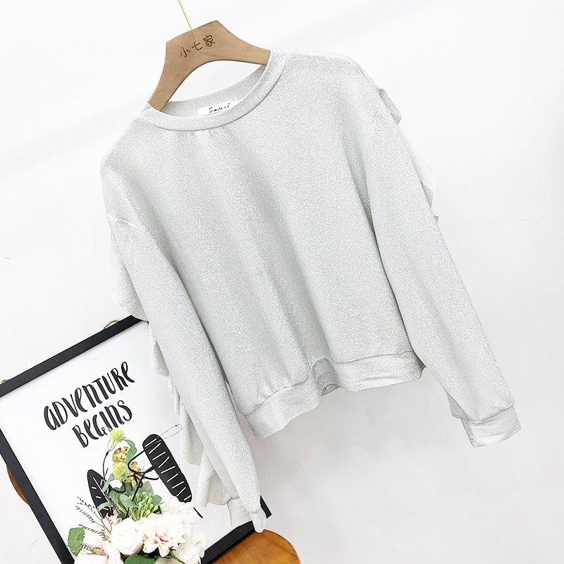 10s 2019 spring comfortable and slippery thin round neck pullover long sleeved ruffled fashion bright silk