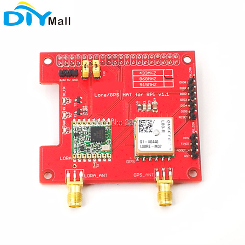 DIYmall for Dragino 868MHz 915MHz 433MHz Long Distance Wireless Lora GPS  HAT Expansion Board for Raspberry Pi LoRaWan