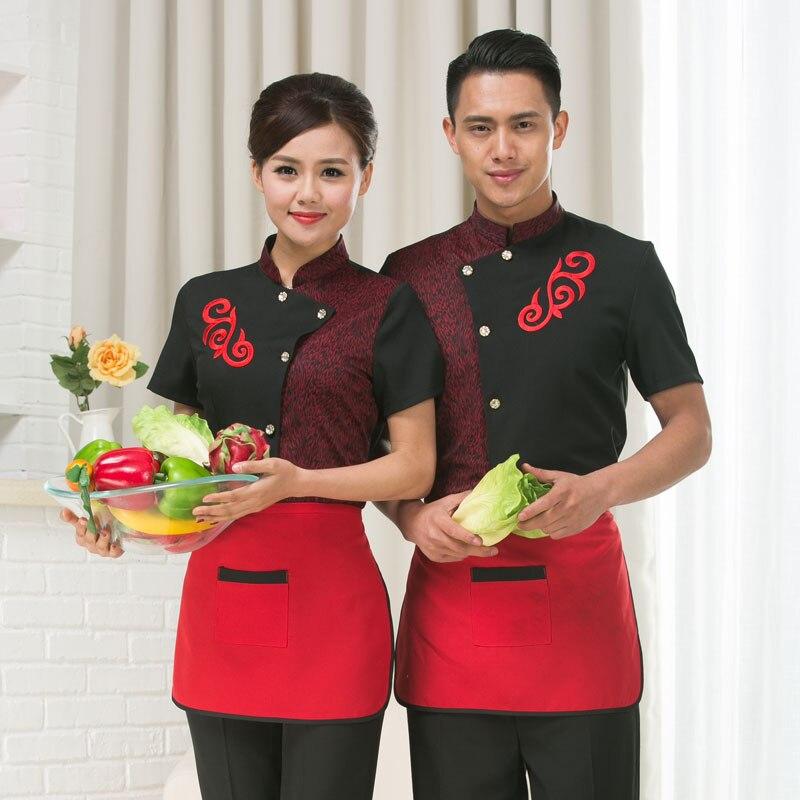 Fast-food Restaurant Waiter's Uniforms Male Female Short Sleeved Chef Jacket Work Wear