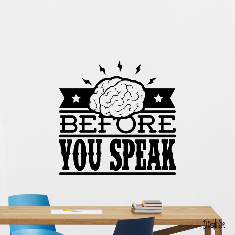 Quote Wall Decal Think Before You Speak Vinyl Sticker Home Decor Poster Quotes Wall Decor For Office Room Decoration L575
