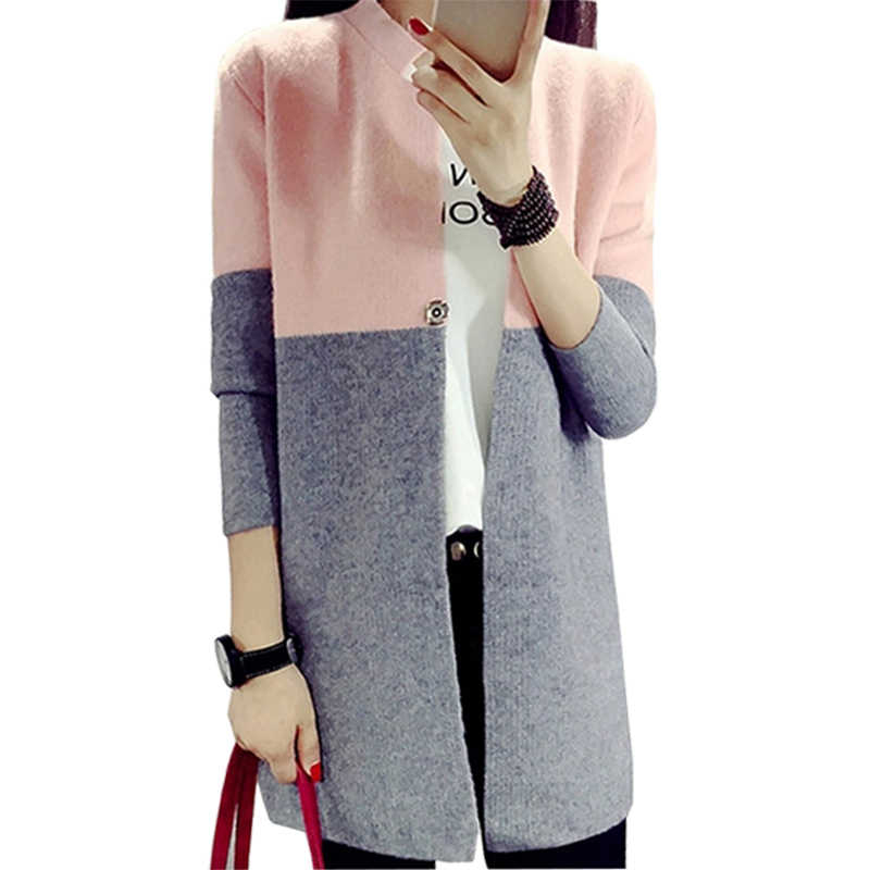 c775a44fe9a Cardigan Women Fall Winter Coat Long Loose Knit Sweater Ladies Spell Color Korean  Thickened Jumper Woolen
