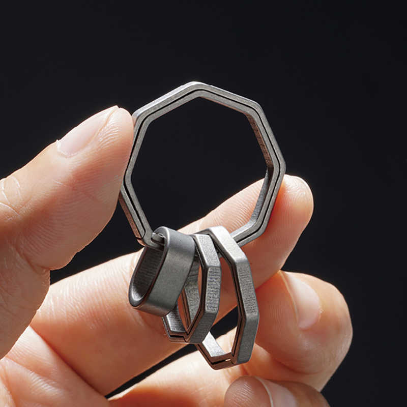 Real puro liga de titânio chaveiro super leve pendurado fivela chaveiros quickdraw titânio ferramenta chaveiro criativo