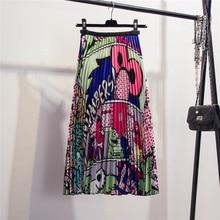NiceMix 2019 Summer Spring  Animal Cartoon Print A-line Patchwork High Waist Pleated Casual Loose Skirt Women Fashion Tide