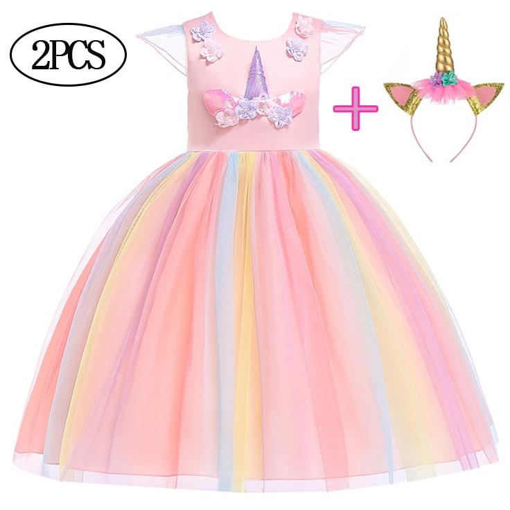 Princess Dress for Girls Sleeveless Kids Mesh Party Clothes Girls Unicorn Dress+Headband 2pcs Suit Baby Girl Fashion Dresses