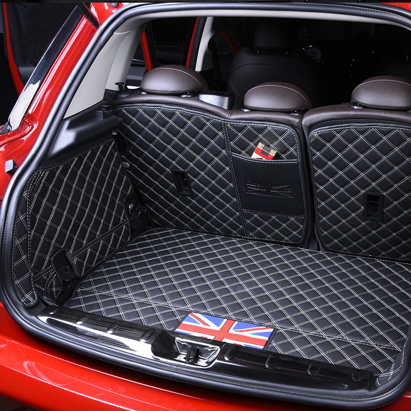 Leather Car Cargo Mat Rear Trunk Liner Carpet Covers Waterproof Pad Protector For Mini Cooper R60 Car Styling Accessories 3d trunk mat for peugeot 508 waterproof car protector carpet auto floor mats keep clean interior accessories