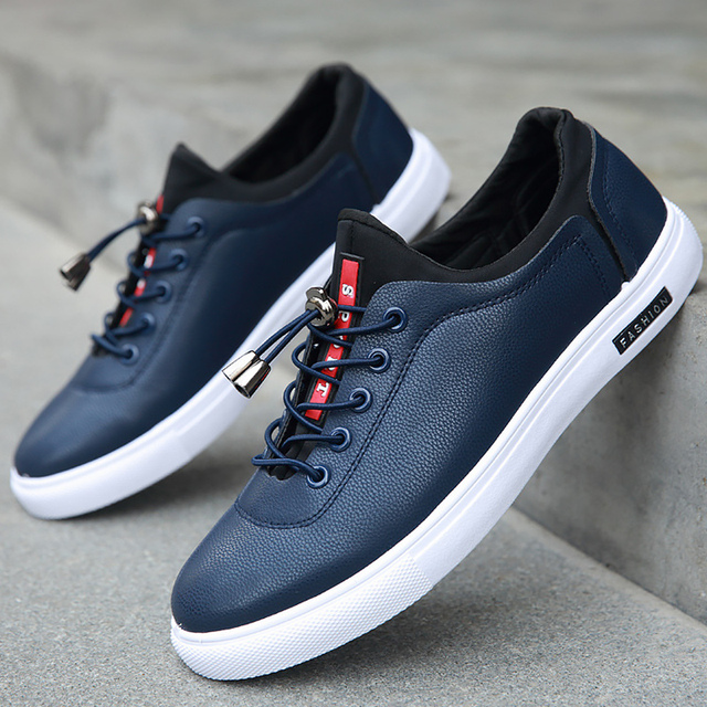 daa3b9e89db77 Men s Vulcanize Shoes shallow designer sneakers for boys massage hard-wearing  leather man shoes elastic