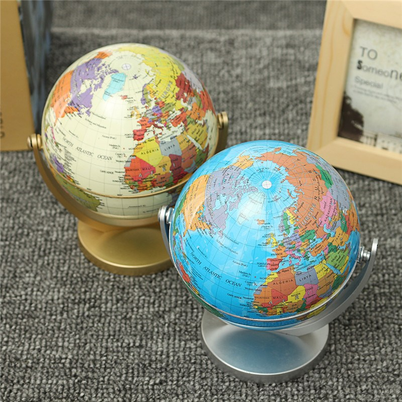 Modern 360 Degree Omni Direction Rotating Globe Earth Ocean Globe World Geography Educational Map Desktop Office Decor Ornament