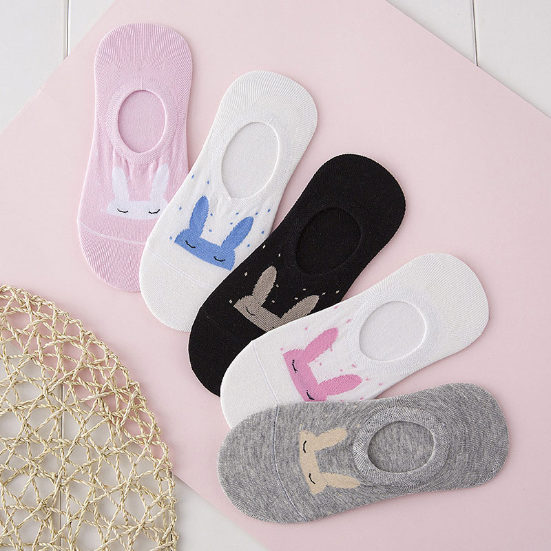 Fashion 1Pair Cotton Comfortable Cute Rabbit Women Low Invisible Sock Slippers Girls All Season Wear Good Quality Socks new arrival fashion style couple wear shoes striped men women winter time slippers indoor wear unisex good quality comfortable