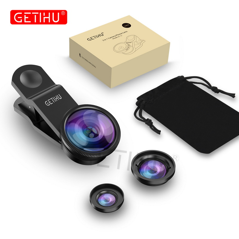 Universal 3 in 1 Wide Angle Macro Fisheye Lens Camera Mobile Phone Lenses Fish Eye Lentes For iPhone 6 7 Smartphone Microscope 2