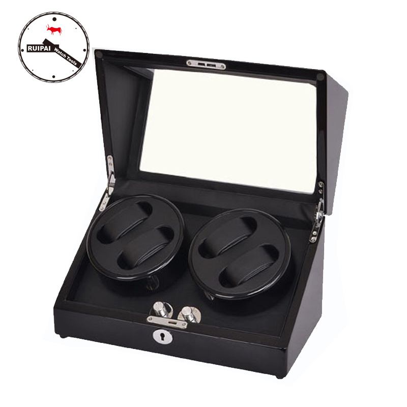High-end 4+0 BB Type 5 Modes Full Black Color Watch Winder box Glossy Wooden 4 seats Watch Winder ultra luxury 2 3 5 modes german motor watch winder white color wooden black pu leater inside automatic watch winder