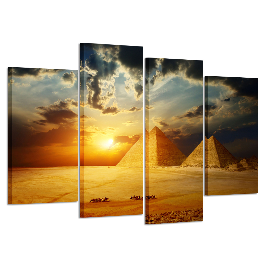 HD Printed 4 piece Canvas Art Egypt Pyramid Painting Canvas Print Sunset Picture to Canvas Painting Stretched and Framed Wall Ar