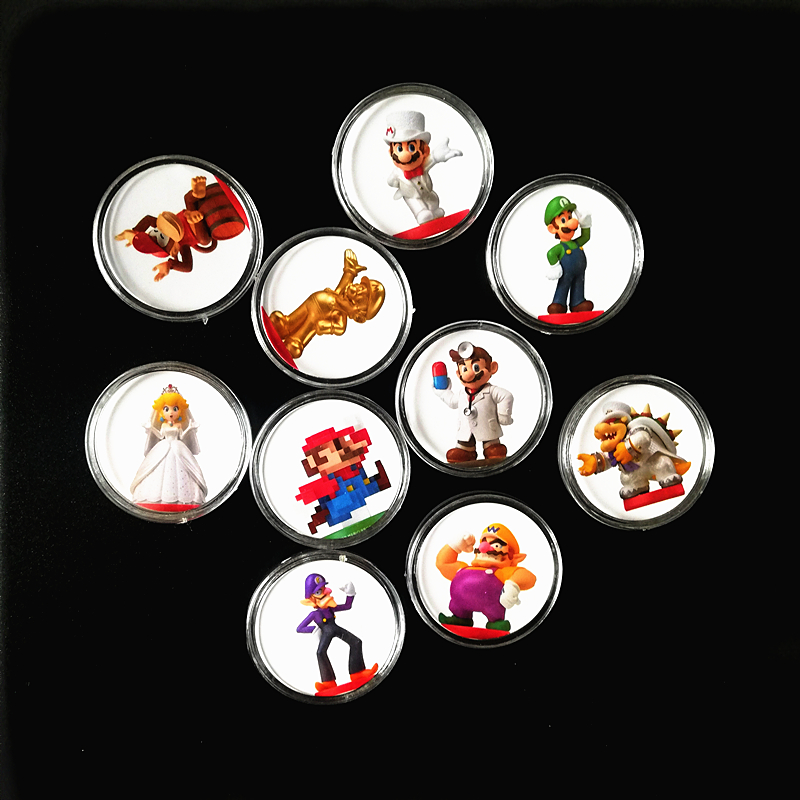 10Pcs/lot Super Mario Odyssey NFC Game Card Of Amiibo Ntag215 Collection Coin Prined Sticker Tag For NS Switch Fast Shipping