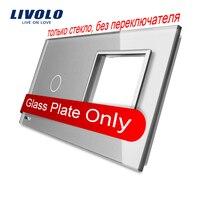 Livolo Luxury Grey Pearl Crystal Glass 151mm 80mm EU Standard 1Gang 1 Frame Glass Panel VL