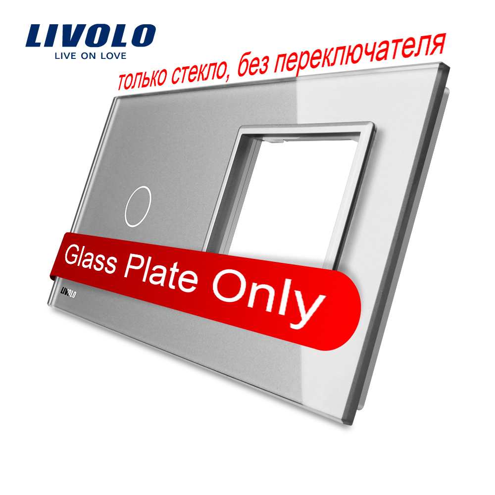 Livolo Luxury Grey Pearl Crystal Glass, 151mm*80mm, EU standard, 1Gang &1 Frame Glass Panel, VL-C7-C1/SR-15